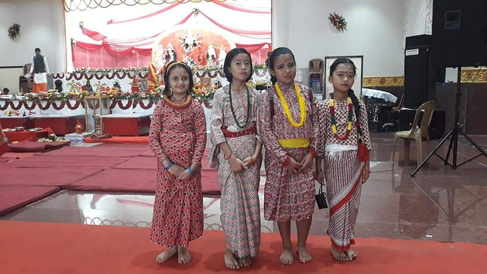 Little Nepalese girls in traditional attire who participated in the Shova Yatra