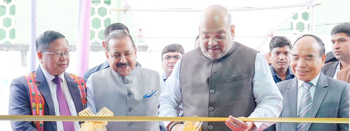 Union home minister Amit Shah inaugurating North East Handloom and Handicraft Exhibition in Aizawl on Saturday
