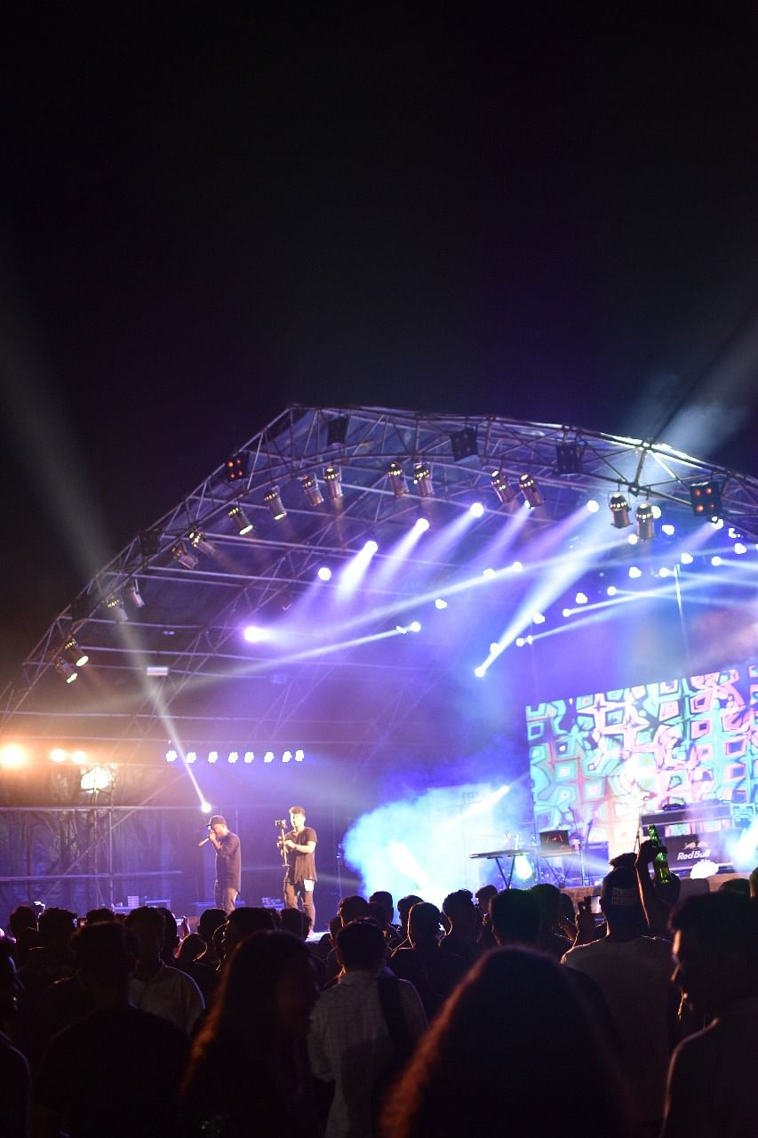 Crowds enjoying the performance of local beat boxers at 'The Big Burp!' fest held in Guwahati