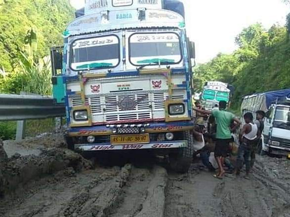 Mizoram trucks stay off NH-54 to protest  poor road conditions