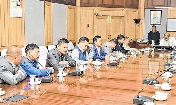 Representatives of COCOMI holding a meeting with Manipur CM N Biren Singh over the Naga political negotiations in Imphal on Thursday