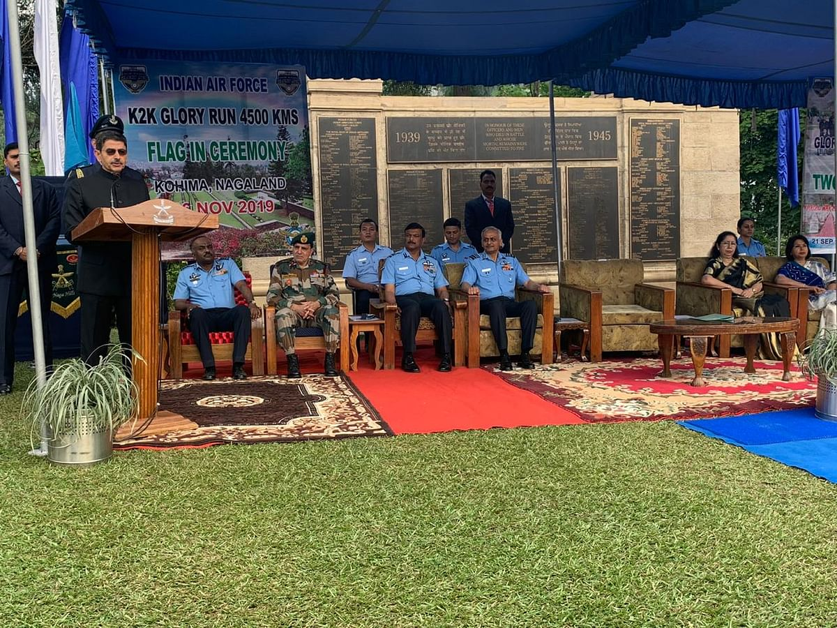 Nagaland governor RN Ravi addressing the gathering at Kohima War Cemetery on Wednesday
