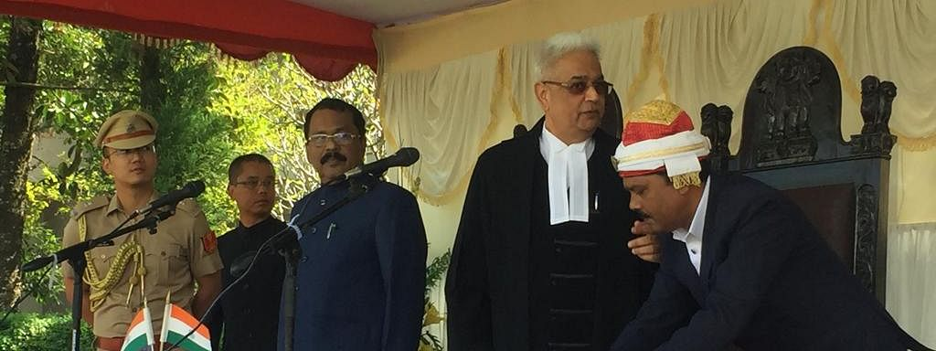 PS Sreedharan Pillai being sworn in as the 21st governor of Mizoram on Tuesday