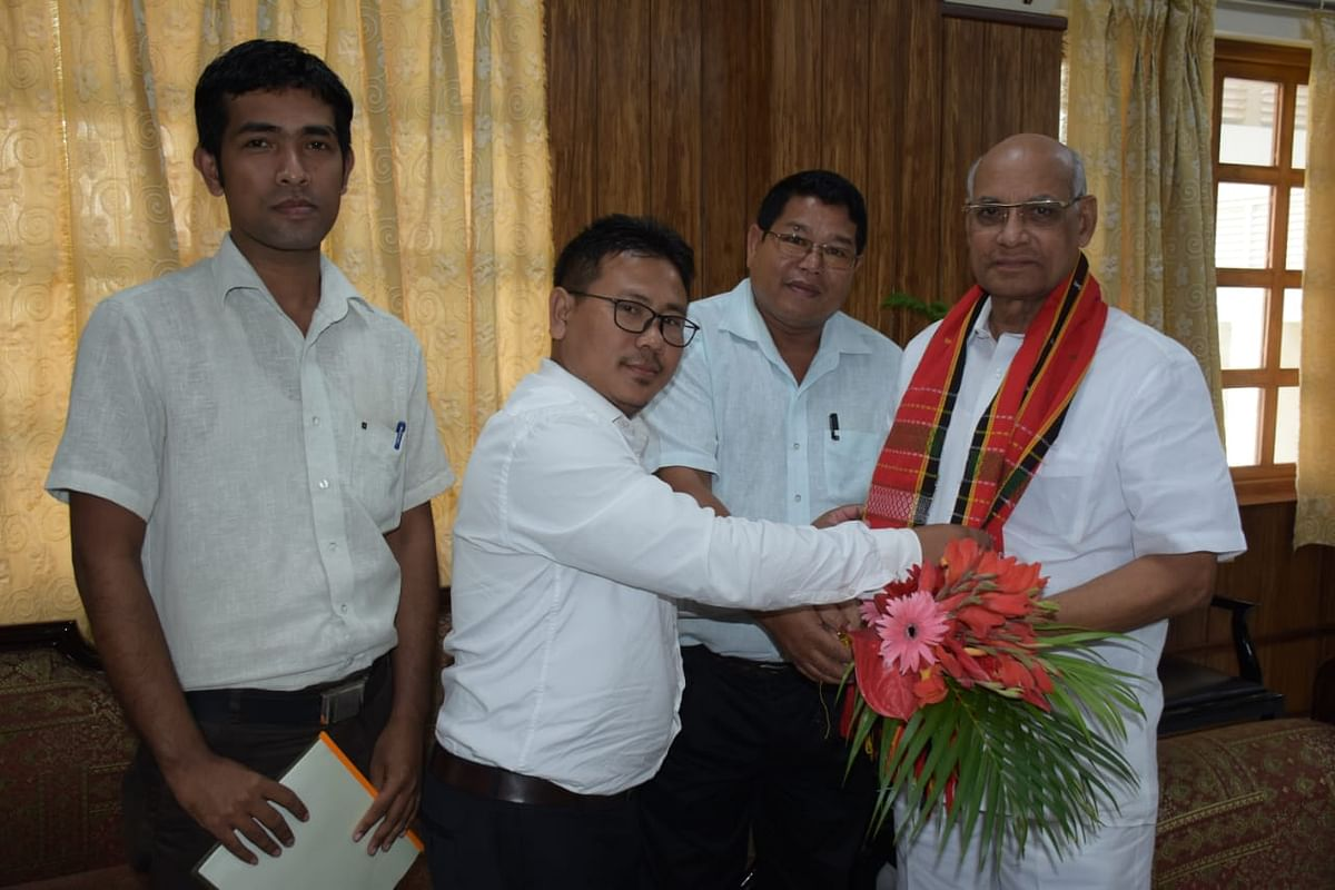 Tripura governor Ramesh Bais with the delegation of Twipra Students' Federation