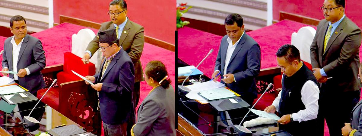 Chief minister PS Golay, Sonam Tshering Venchungpa and YT Lepcha were sworn in as members of Sikkim Legislative Assembly on Monday