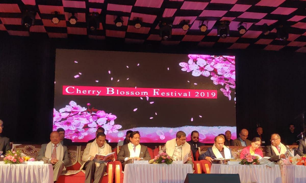 Meghalaya CM Conrad K Sangma inaugurating the fourth edition of Cherry Blossom Festival 2019 in Shillong