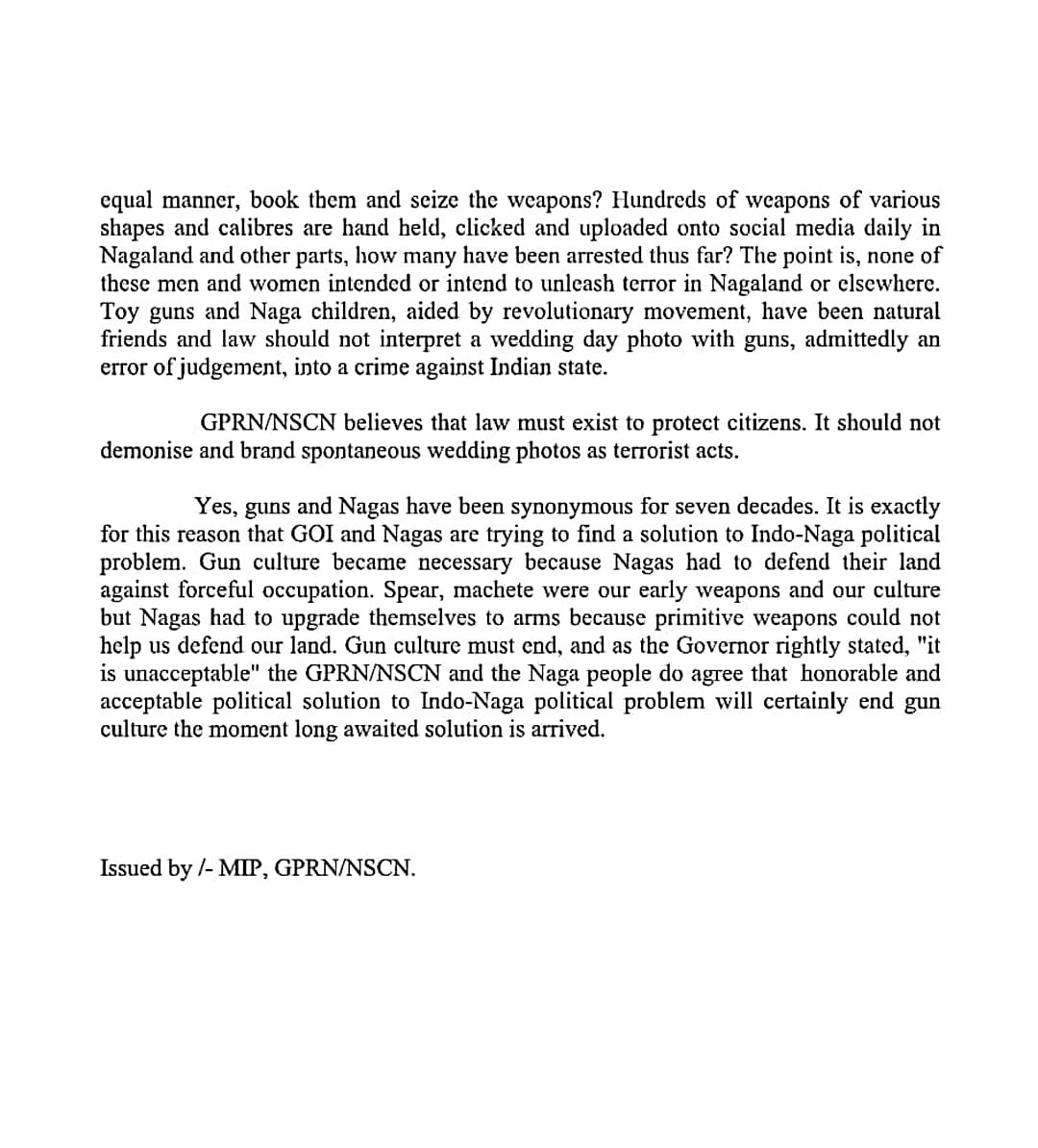 The press communique issued by the MIP of GPRN/NSCN (page 2)
