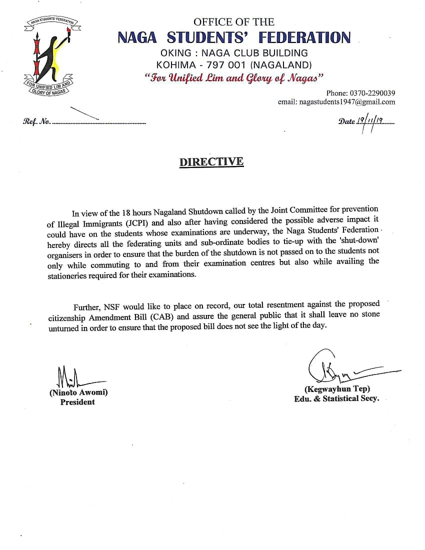 The directive that was issued by the Naga Students' Federation in regard to the shut-down