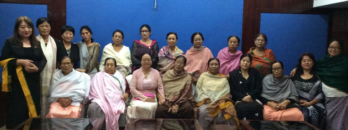Delegates of Naga Mothers' Association along with Meira Paibis in Imphal on Tuesday