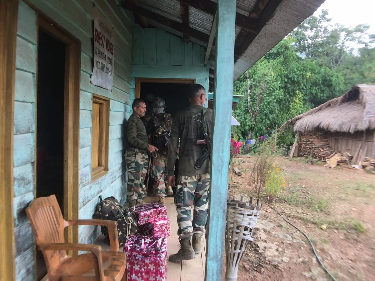 Troops at Phungtha village in Manipur's Kamjong district