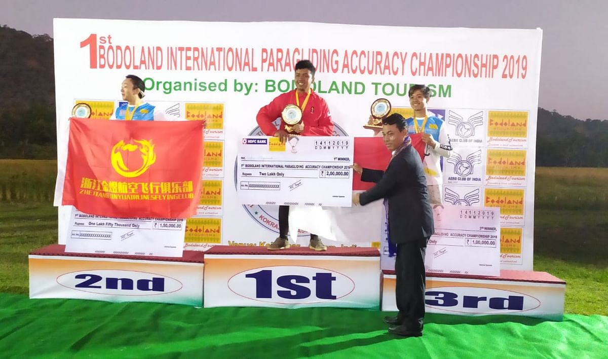 Winners of the male category of the 1st Bodoland International Paragliding Accuracy Championship-2019