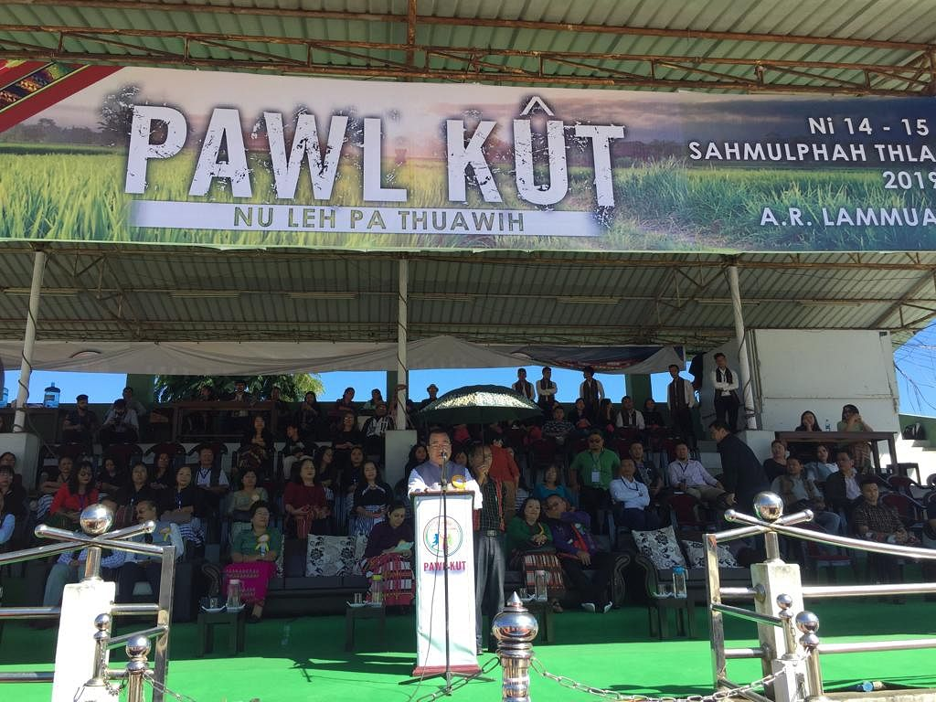Dignitaries delivering their speech during Pawl Kut festival in Mizoram on Thursday