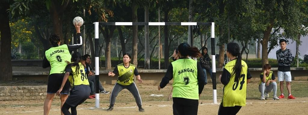 Players of Manipur and Arunachal Pradesh during the finals of the girls' handball match