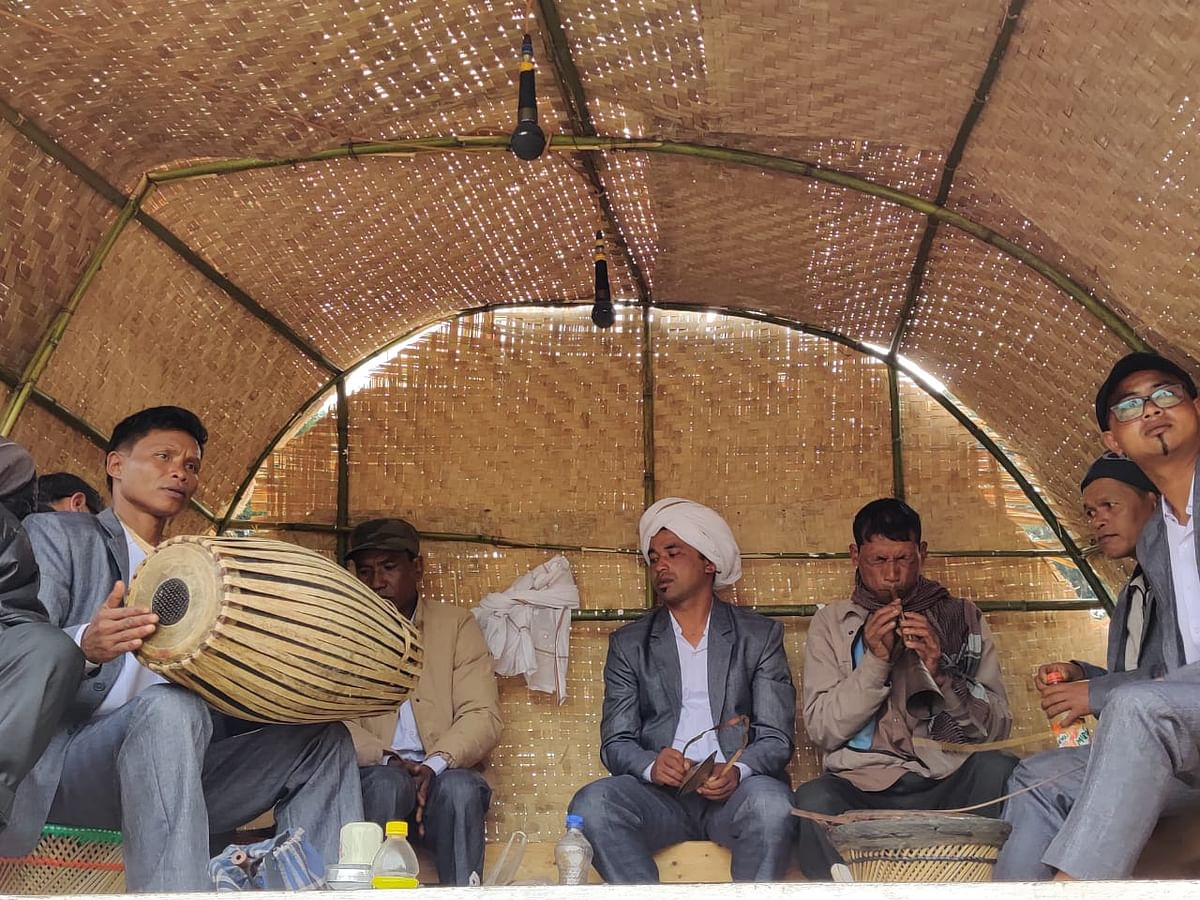 Members of Hima Khyrim playing ancient instruments for the Nongkrem dance