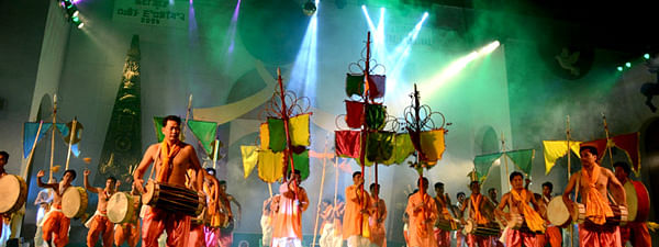 Cultural dance troupe performing at the ongoing Saingai Festival in Imphal