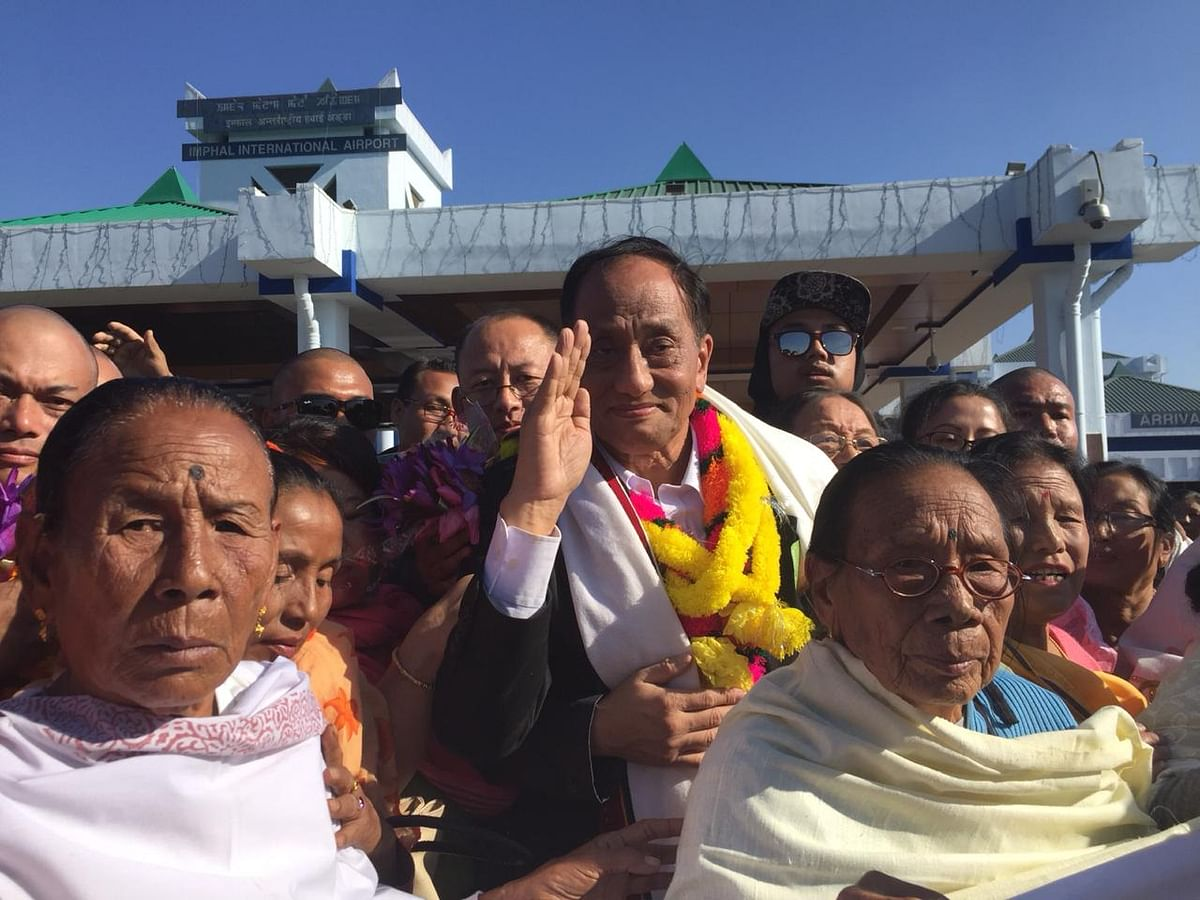 UNLF chief Rajkumar Meghen at Imphal Airport in Manipur on Thursday afternoon