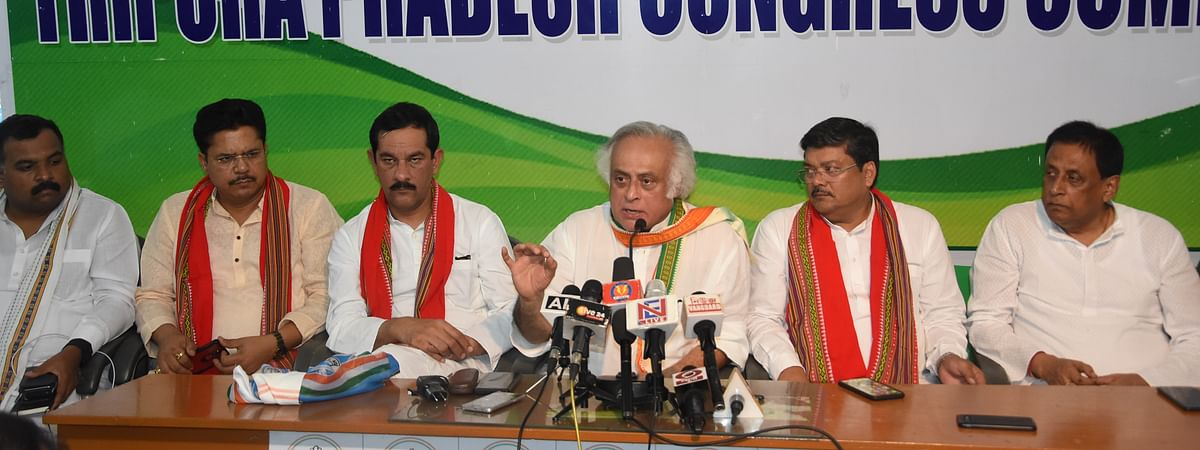 The AICC delegation holding a press conference in Agartala, Tripura on Tuesday