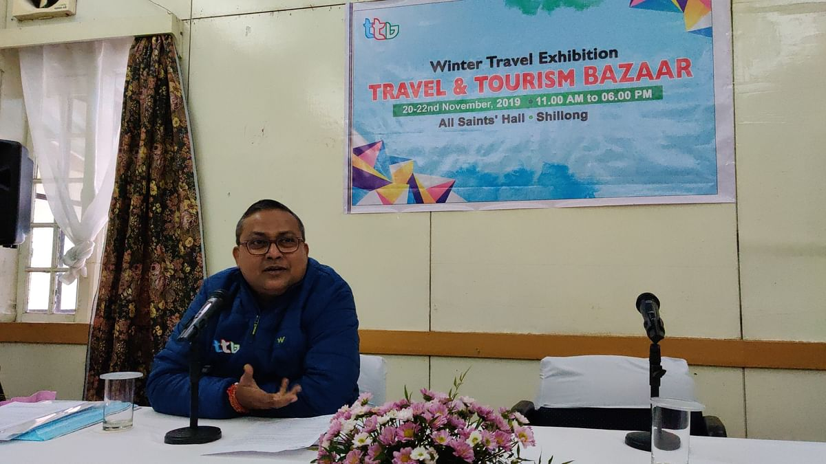 Travel & Tourism Bazaar director Amit Biswas speaking with media persons in Shillong, Meghalaya on Tuesday
