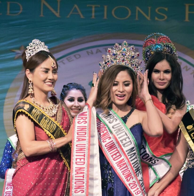 Jessica Snock AK was crowned Mrs United Nations 2019 at a coronation ceremony held recently at Lovely Professional University in Jalandhar, Punjab