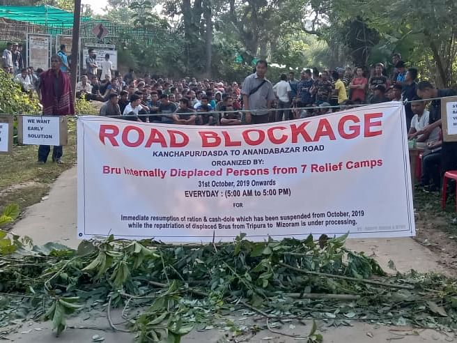 Tripura: Brus' road blockade over ration supply enters 2nd day