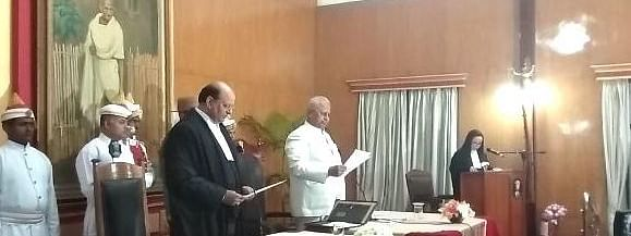 Mohammad Rafiq being sworn in as the chief justice of Meghalaya High Court in Shillong on Wednesday