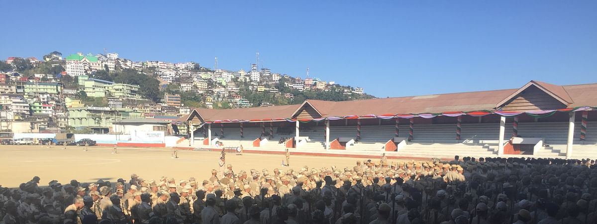 Nagaland police during a practice session for the 57th statehood day
