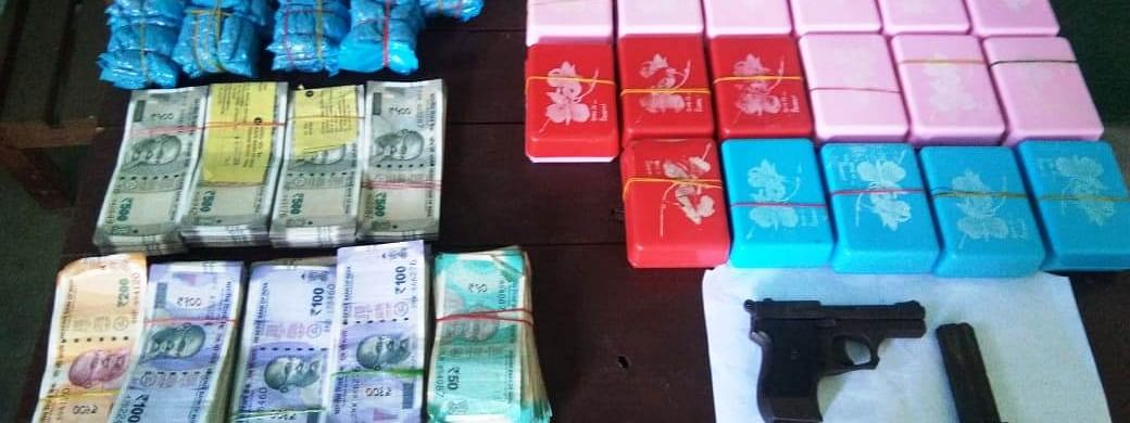 Altogether, 23 packets of suspected heroin, neatly packed in soap cases, were seized from the drug traffickers in Dimapur, Nagaland