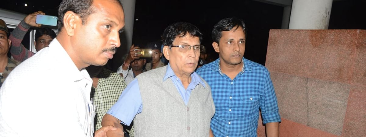 Former minister and deputy opposition leader Badal Choudhury (middle) at NCC police station in Agarta