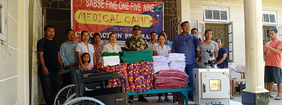 BSF distributing hospital equipment to a PHC