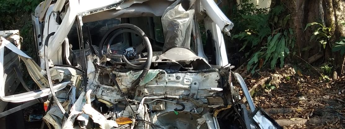 The mangled remains of the ill-fated vehicle in Digboi, Tinsukia