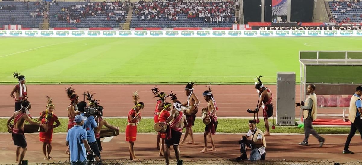 Garo dance 'wangala' being performed during the launch of the logo at Sarusajai Stadium in Guwahati on Thursday