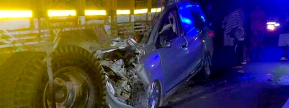 The ill-fated car that rammed into a stationary truck on NH 15