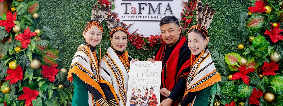 Naga quartet Tetseo Sisters with Abu Metha, advisor to Nagaland CM and secretary general of Nationalist Democratic Progressive Party, at the album release function in Jotsoma on Wednesday