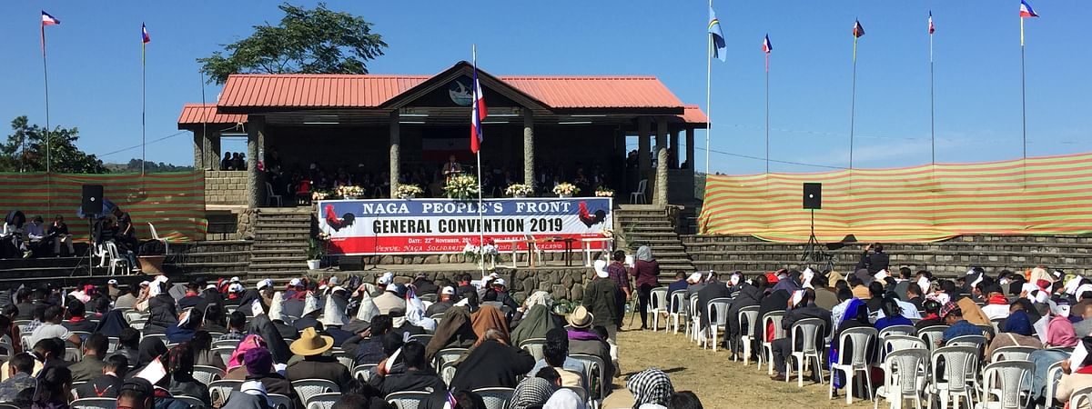 NPF members from Nagaland from neighboring Manipur and Arunachal Pradesh taking part in the party's general convention held in Kohima on Friday