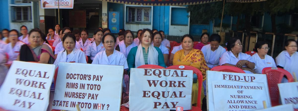 JNIMS nurses at the sit-in-protest in Imphal on Saturday