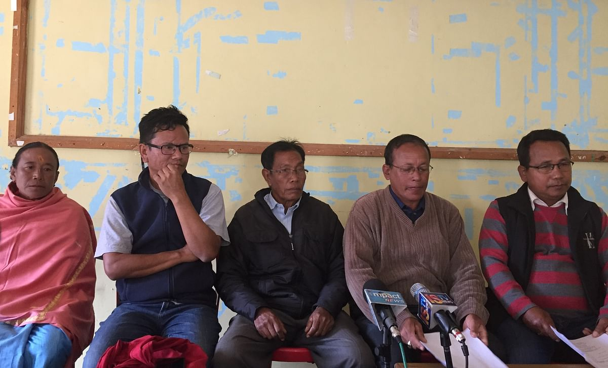 Members of the All Loktak Lake Areas Fishermen's Union Manipur (ALLAFUM) holding a press conference in Imphal