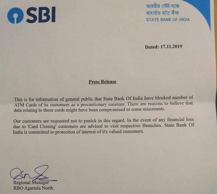 A press statement issued by the State Bank of India on Sunday