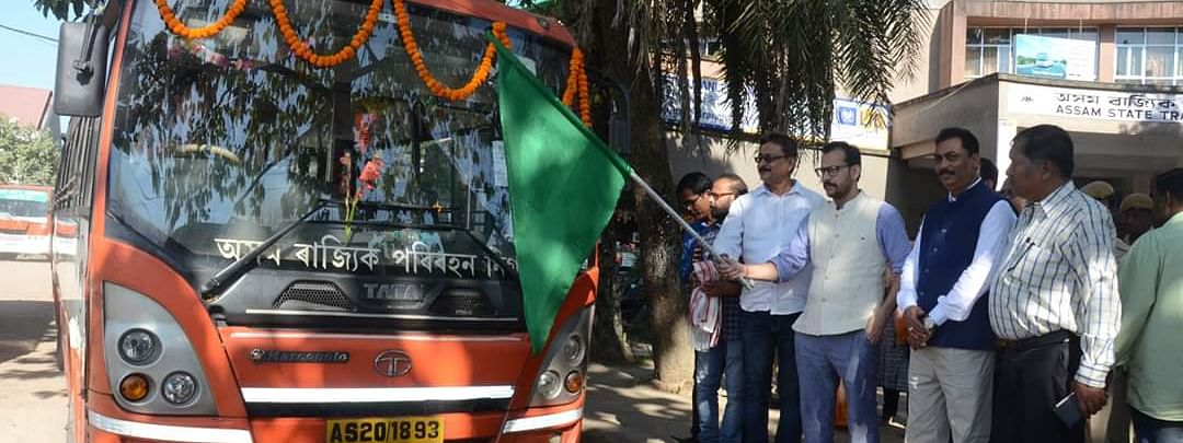Dibrugarh DC Pallav Gopal Jha flagging off a CNG bus on Friday