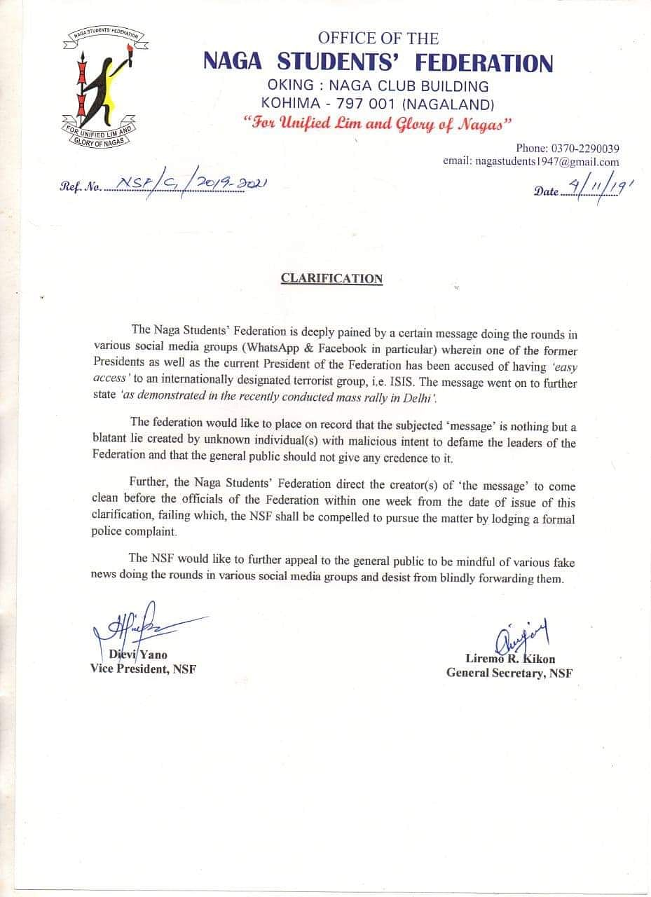 NSF leaders have urged the general public not to give any credence to social media reports in this regard