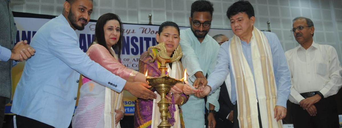 Tripura ARDD minister Santana Chakma (middle) inaugurated the two-day workshop on animal law sensitisation in Agartala on Tuesday
