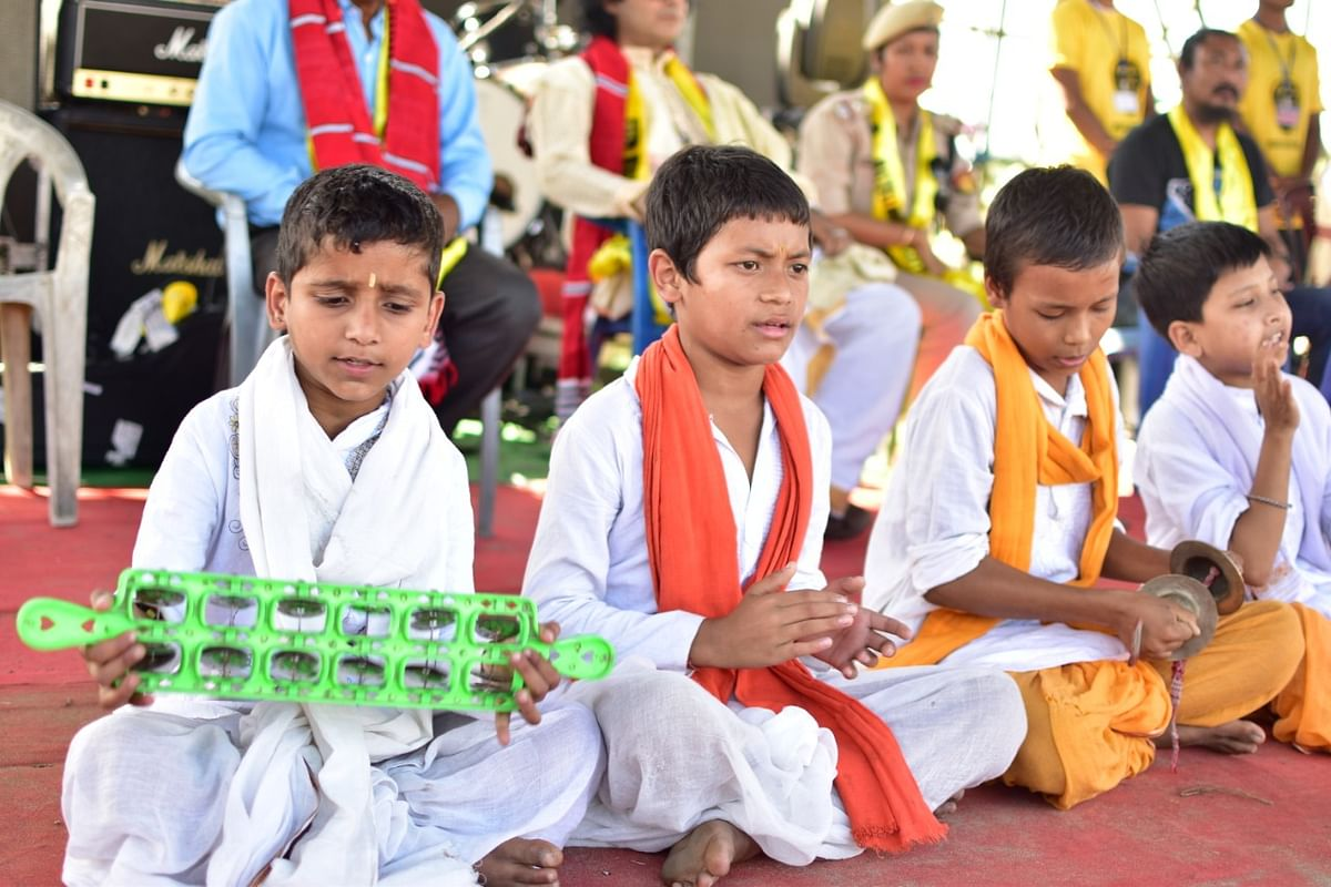 A traditional performance by children at Majuli Music Festival in Assam