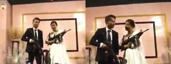 The couple flaunting sophisticated firearms during their wedding reception in Dimapur