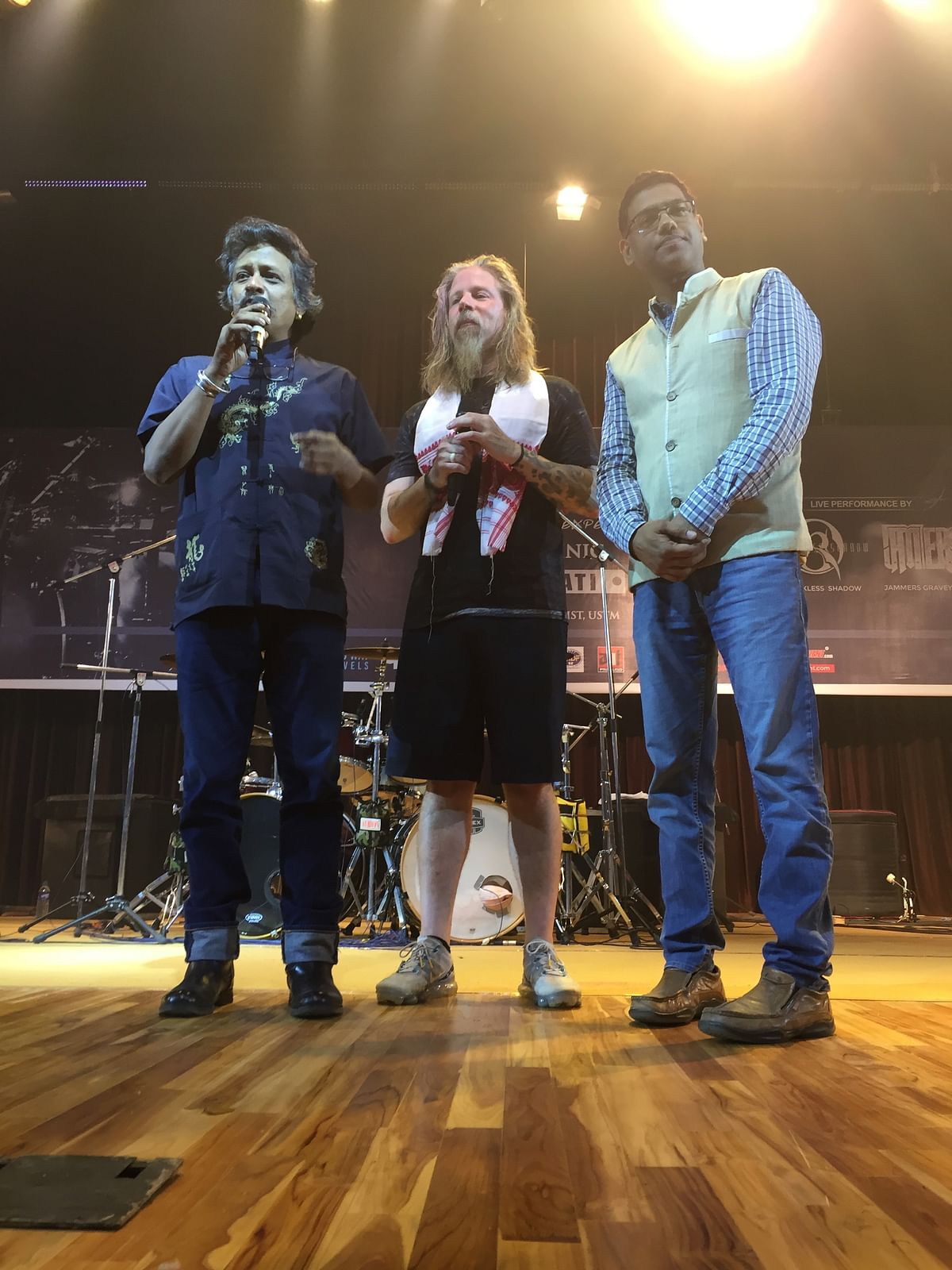 Popular drummer Chris Adler being felicitated at the 'drum clinic' in University of Science and Technology, Meghalaya on November 12