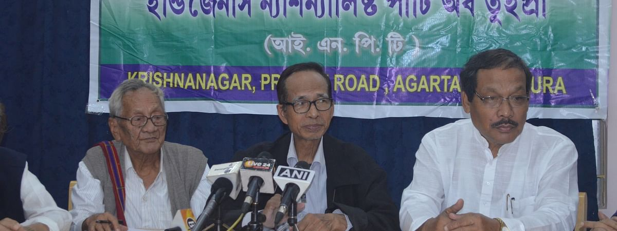 Leaders of INPT holding a press conference in Agartala, Tripura on Wednesday