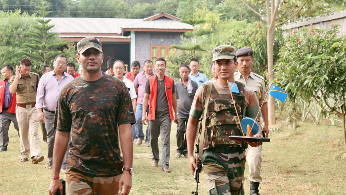 Assam Rifles and Nagaland Police taking part in the eviction drive in Nagaland's Peren district