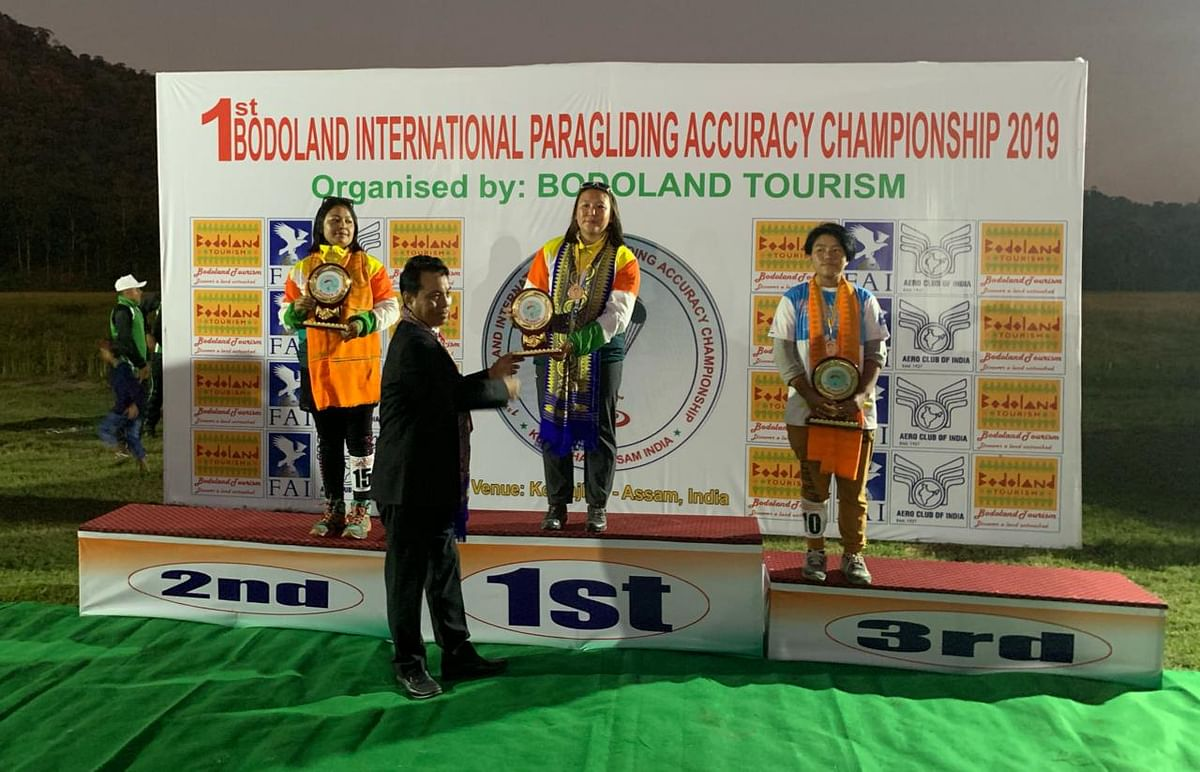Winners in the female category of 1st Bodoland International Paragliding Accuracy Championship-2019