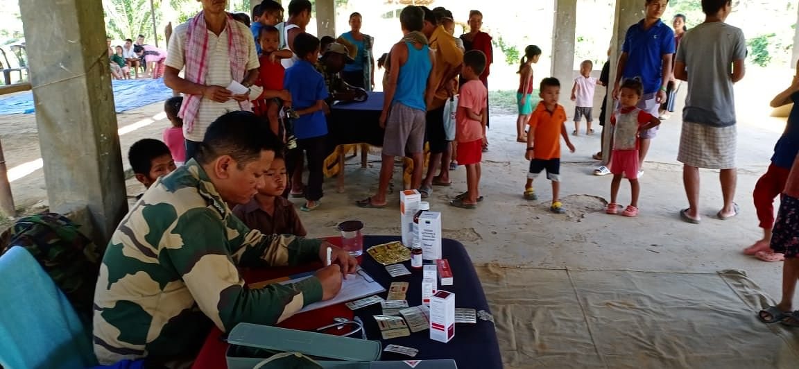 A free medical camp being organised by the BSF in Mizoram