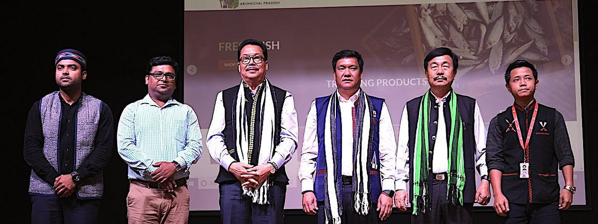 Arunachal chief minister Pema Khandu launching the online marketplace