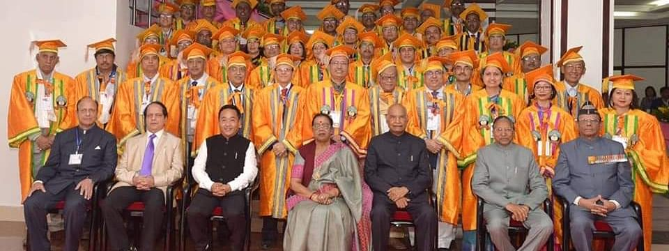 President Ram Nath Kovind along with first lady Savita Kovind at the 5th convocation ceremony of Sikkim University in Gangtok on Sunday