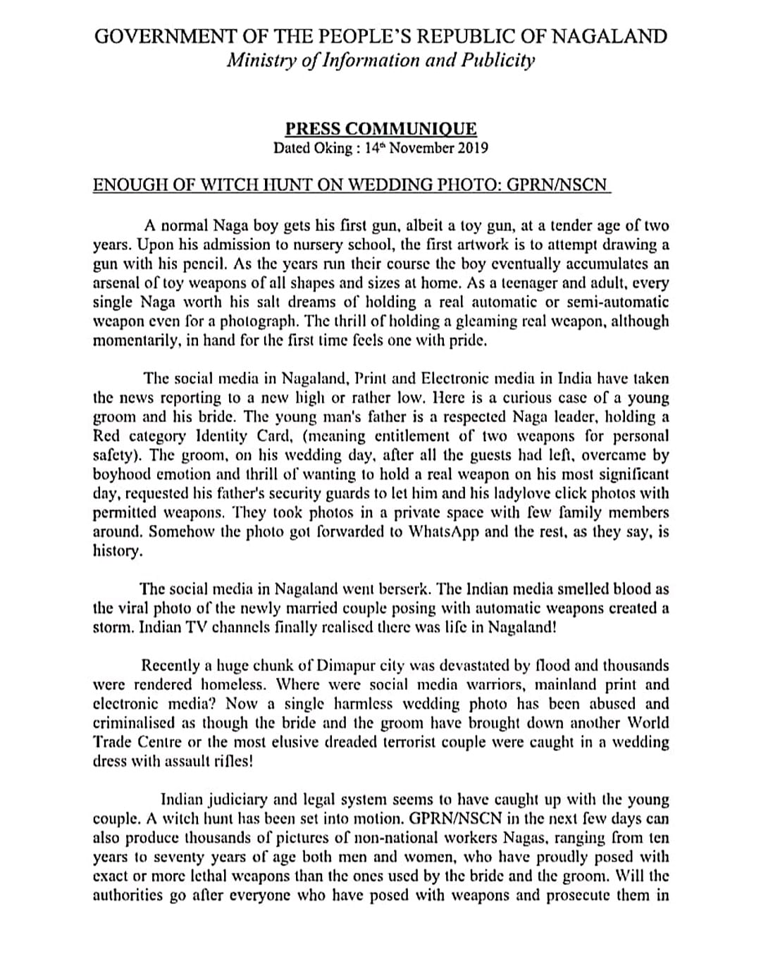 The press communique issued by the MIP of GPRN/NSCN (page 1)